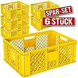 6x Eurobehälter durchbrochen / Stapelkorb, lebensmittelecht, LxBxH 600 x 400 x 240 mm, gelb