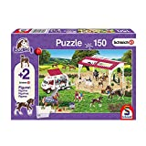 Schmidt Spiele 56240 Schleich, Reitschule und Tierärztin, Kinderpuzzle, 150 Teile, mit 2 Originalfiguren, lila