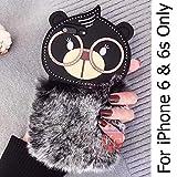 KC Lovely Cartoon Rabbit Furry Fluffy Warm Plush Bear Fur Hair with Spectacles