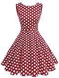 Wedtrend 50s Retro Vintage Dot Einfarbig Rockabilly Ärmellos Kleid Faltenrock WTP10005 Red Dot 3XL
