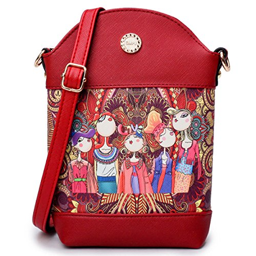 Ms. Messenger Bag Umhängetasche Telefon Verpackungsdruck Wald Red