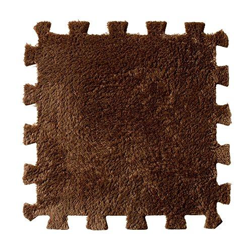 Alfombras infantiles bebé,Culater Multicolor Peludo Estera suave de la alfombra del remiendo (Café)