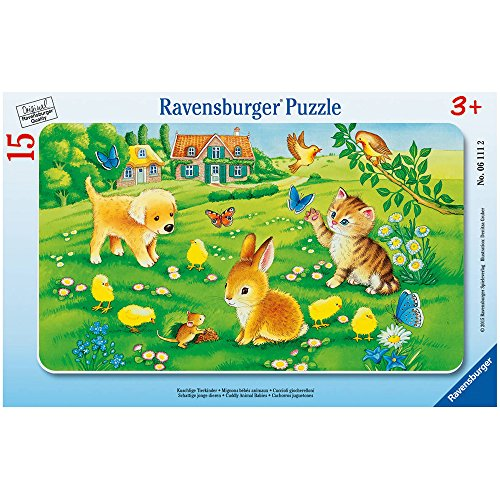Ravensburger 25 Puzzle (Ravensburger 06111 - Kuschlige Tierkinder)