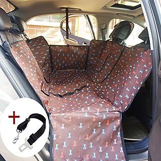 1880/5000 Wasserdichte Hund Autositzbezug Haustier Hund Sitzbezug Rücksitz für Auto SUV Trunk Hängematte Schutzabdeckung mit Seitenklappen Kaffee