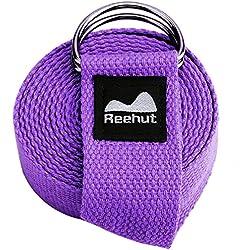 Reehut Fitness Exercice - Correa para yoga (1,8 metros, 2,4 metros, 3 metros) con hebilla de anilla en D ajustable para estiramiento, flexibilidad y terapia física, morado, 6 pies