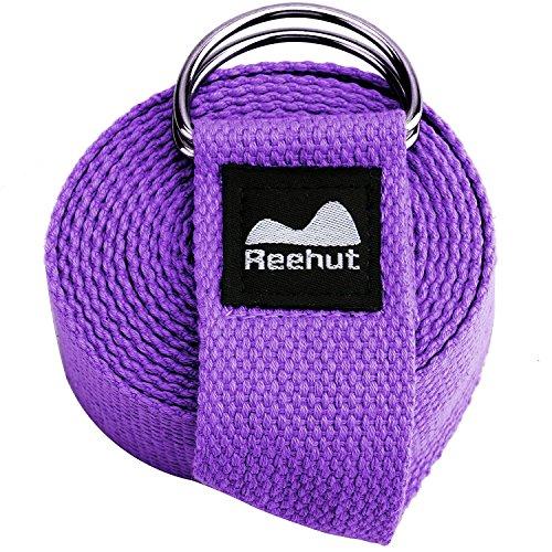 reehut Fitness Übung Yoga Gurt (1,8m, 8ft, 10ft) W/verstellbarer D-Ring Schnalle für Stretching, Flexibilität und Physiotherapie 183 cm...