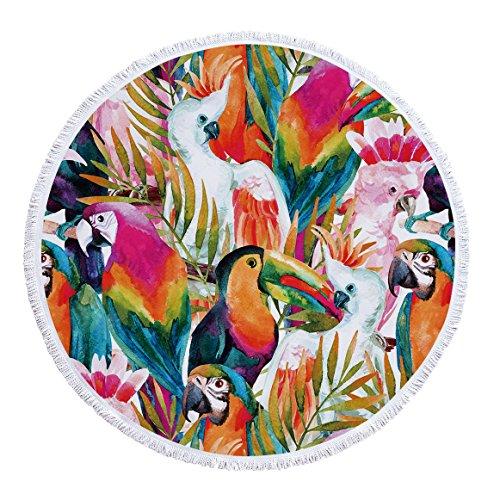 SUYUN Tapis de Yoga Rond de Serviette de Plage avec Flux imprimant des Plantes Tropicales -03 150 * 150cm