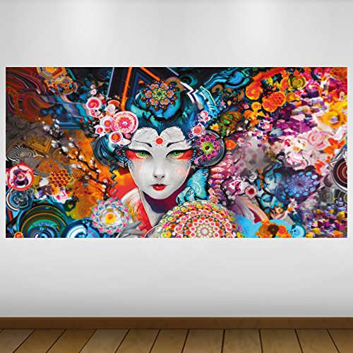 LagunaProject Extra Grande Blanca del Geisha de Japón Vinilo Póster - Mural Decoración - Etiqueta de la Pared -140cm x 70cm