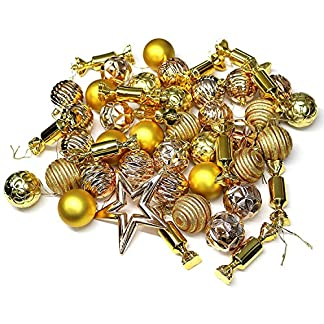 Robelli 72piezas lila Luxus surtidos Árbol de Navidad decoración Set (bolas, algodón pieza, vitrina espumillón & Banda)