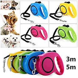 Generic Yellow Leash, 5m : 3M 5M Retractable Dog Leash Extending Puppy Walking Leads One-handed Lock Training Adjustable Pet Collar for Dogs Cats