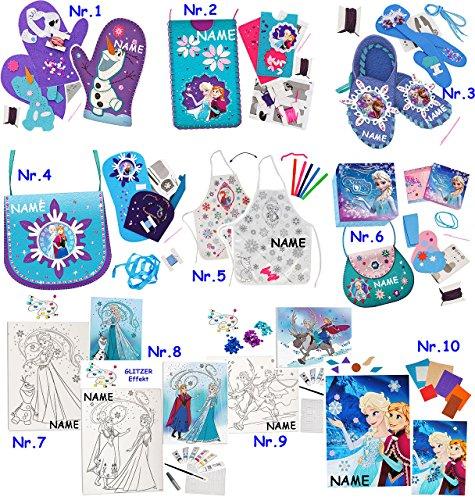 alles-meine.de GmbH Bastelset - Filz -  Disney Frozen - die Eiskönigin / Olaf  - incl. Name - zum Sticken, einfaches Nähen per Hand - Komplettset filzen Eulen - Creativ - Filzs..