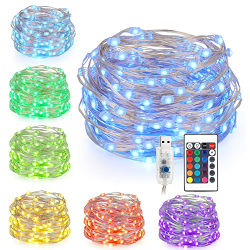 Weiße Led-licht-strang (Kohree LED Lichterkette Silberdraht 5M/16.4ft, USB Powered Bunte Lichterkette Farbwechsel mit Fernbedienung, 50 LEDs Indoor String Licht für Schlafzimmer, Party, Außen, Garten, Hochzeit)