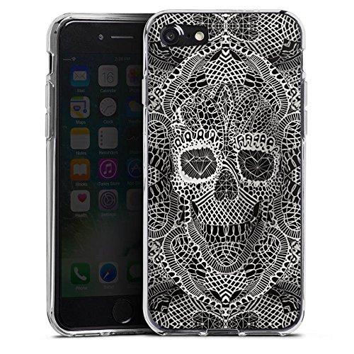 Apple iPhone X Silikon Hülle Case Schutzhülle Skull Lace Totenkopf Muster Silikon Case transparent