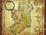 Poster 40 x 30 cm: Irland 1766 von Michaels Antike Weltkarten - Hochwertiger Kunstdruck, Kunstposter