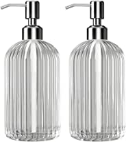 Kolyes Soap Dispenser, 18 Oz Clear Vertical Striped Glass Refillable Premium Hand Soap Dispensers; with 304 Rust Proof Stainl