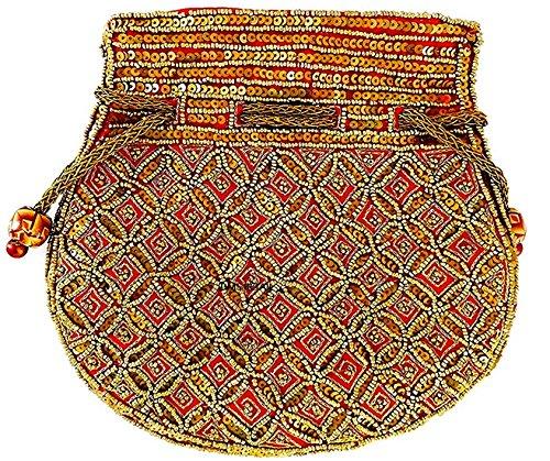 Women's Designer Multi color Potli bag with embroidery Bead work- Ethnic Potli...