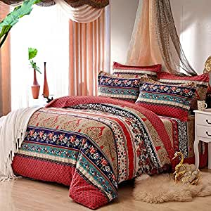 beddingleer bettw sche set 4 teilig tagesdecke 220x240 cm b hmischen stil baumwolle patchwork. Black Bedroom Furniture Sets. Home Design Ideas