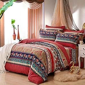 beddingleer bettw sche set 4 teilig tagesdecke 220x240 cm b hmischen stil baumwolle patchwork. Black Bedroom Furniture Sets. Home Design Ideas