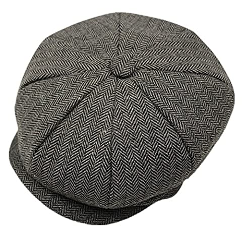 Decent Unisex Men's Hooligan Cap Wool Ivy Newsboy Cap Vintage Herringbone Peaked Hat