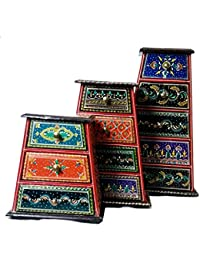 Antikcart Beautiful Ethnic Meenakari Wooden 3pcs Chest of drawers