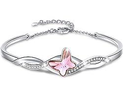GEORGE · SMITH Classique Bracelet Papillon Femme Bracelet Plaqué Argent Femme avec Cristal Bleu, Bracelet Femme Cadeau Annive