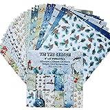 Somedays 24Blatt Scrapbooking Papier Gemustertes Karton Bastelpapier mit Vintage Design für DIY Handwerk Foto Hintergrund Deko 15.2 * 15.2cm/6.0 * 6.0in
