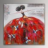 ADM Frau mit Schmetterlingen figurativ acryl Moderne gemälde auf leinwand Druck von Hand dekoriert AS364X1