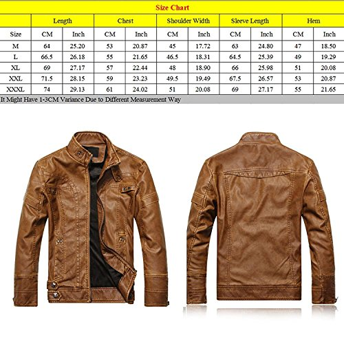 Zhuhaitf Fashion Cool Mens PU Leather Jackets Outerwear Stand Collar Plus Velvet Moto Rider Jackets Coats Black