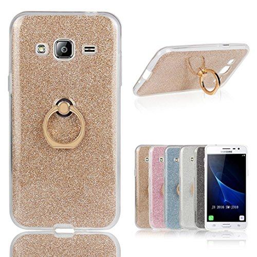 Für Samsung Galaxy J3 2016 Hülle, Pheant® Schutzhülle mit Ständer Ring [Durchsichtige Handyhülle + Glitzer Papier in Gold]