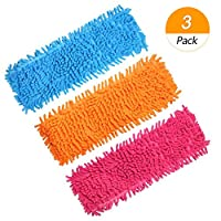 Homgaty 3Pack Microfiber Cleaning Mop Pads,Flat Floor Dust Mop Heads Replacement for Wet Or Dry Scrubbing Washable 40x12cm