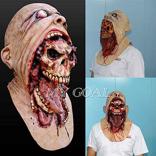 Halloween Latex Blutige Maske Zombie Gesicht Melting Walking Dead Horror Kostüm Party (Zombie Prop Halloween)