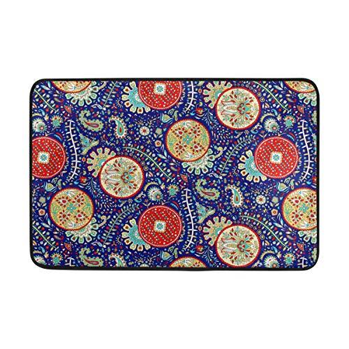 ISAOA Fußmatte, Rutschfest und waschbar, Fußmatten für Innenbereich, 60 x 40 cm, indisches Boho Paisley Mandala Bad Küche Teppich