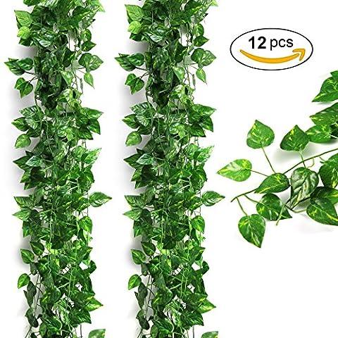 Kunstpflanze,Kunstpflanzen Hängend,Künstliche Pflanze,LANMU Künstliche Grün Fake Hängende Efeutute Blätter Pflanze für Party/Garten/Wand/Hochzeit/Balkon/Haus Kostüm Deko. 12