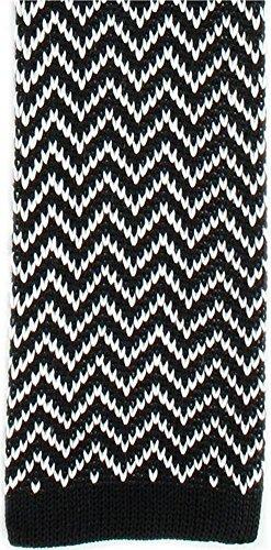 Michelsons of London Noir/Blanc Zig Zag Silk Skinny cravate en tricot de