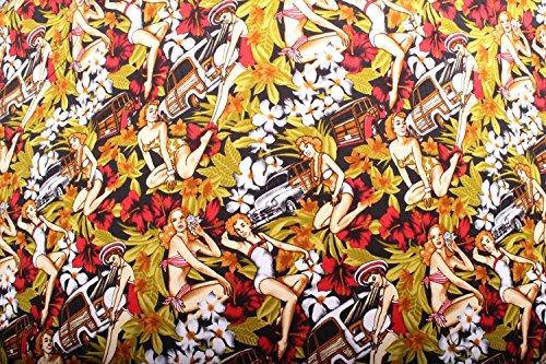 SugarShock Damen Hawaii PIN UP Hibiskus Blüten Flower US-Car Rockabilly Shirt Top Schwarz