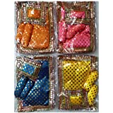 VARNI Creation Ladoo Gopal Silk Asan Set With 2 Piece GADI, 1 Cushion -Size 4.5 X 6 Inch (Set Of 4) Assorted Color