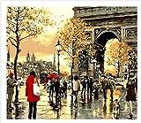 shukqueen DIY Ölgemälde, Erwachsene 's Malen nach Zahlen Kits, Acryl Gemälde Paris Triumphal Arch 40,6x 50,8cm, Frameless,Just Canvas