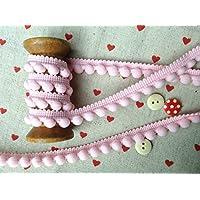HomeBuy - Passamaneria con pompon, finiture di ottima qualità, dimensioni 10 mm (mini) x 1 m, colore: rosa confetto