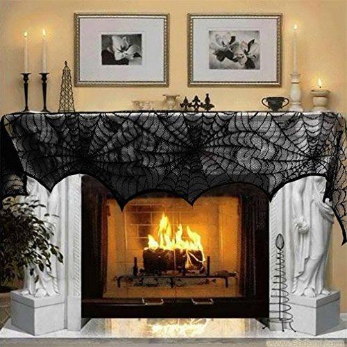Decoración de halloween, Sayue encaje negro spiderweb chimenea manto bufanda cubierta festivo partido suministros 18 x 96 pulgadas