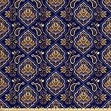 Lunarable Paisley-Stoff von The Yard, Ethnisches Tribal-Muster mit Arabesquen-Effekten und Blumen-Ornamenten-Print, Dekostoff für Polster und Wohn-Akzente, ca. 45 cm, Indigo und Ingwer