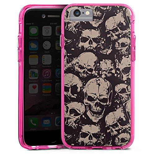 Apple iPhone X Bumper Hülle Bumper Case Glitzer Hülle Skull Boese Gothic Bumper Case transparent pink