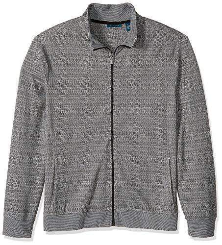 Perry Ellis Herren Jacquard Pattern Full Zip Knit Jacket Baumwolle, leicht, Jacke, schwarz, Mittel - Jacquard Zip Jacket
