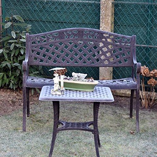 Lazy Susan – SANDRA Quadratischer Kaffeetisch mit 1 ROSE Gartenbank – Gartenmöbel Set aus Metall, Antik Bronze (Beiges Kissen) - 2