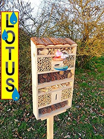 Large Hanging Nesting Box XXL Hotel with/without Stand Tall Luxury Hotel 30cm Lotus with Feeder and Wood Bark Natural Best Durable Case Personalized Design For Lovely Special Lotus Design, FDV Lo-Station HOOS Mottled Black Decorative Matches The Tit Box or for Birdhouse Bird Feeding Station Bird Feeder, Against Aphids, Ladybird Insects Butterflies For The ecological Aphid