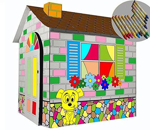 Littlefun Kinder faltbare Karton Spielhaus Kit Kind Premium-Papier Spielhaus Bau Marker enthalten (Karikatur Hütte)