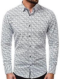 OZONEE RAW LUCCI 535 Herrenhemd Freizeithemd Klassische Hemden Langarm Slim Hemd