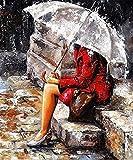 DIY 5D Diamant Malerei, Charakter Kreuzstich, Rote Frau, Paar im Regen, Stickerei-Set, Handbemalte, Cube Runde Diamant 30 × 45cm Full Diamond