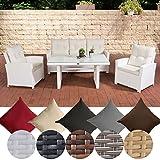 CLP Garten-Garnitur FISOLO, Poly-Rattan Essgruppe, 25 FARB-Varianten (3er Sofa + 2 Sessel + Esstisch 140 x 80 cm, Höhe 66 cm) Rattan Farbe weiß, Bezugfarbe: Cremeweiß