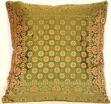 Indische Seide Deko Kissenbezüge 40 cm x 40 cm (Grün), Extravaganten Design für Sofa & Bett Dekokissen, Kissenhülle aus Indien (Angebot gültig nur für ein Woche)