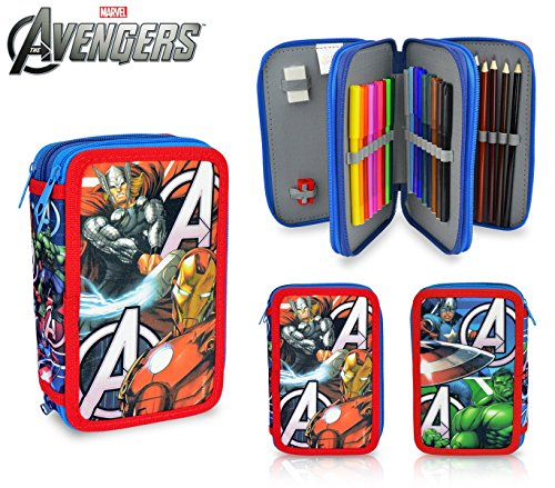 AV16109 Astuccio portapastelli 3 cerniere 43 pz scuola The Avengers colori. MEDIA WAVE store